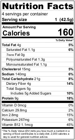 Mighty Cricket Dark Cocoa High Protein Oatmeal Nutrition Facts