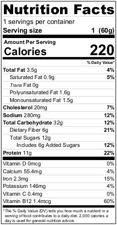 Mighty Cricket Apple Cinnamon High Protein Oatmeal Nutrition Facts