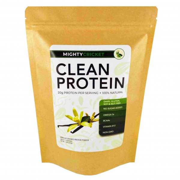 mighty cricket protein powder vanilla no sugar added dairy free gluten free soy free tree nut free peanut free non gmo non whey sustainable