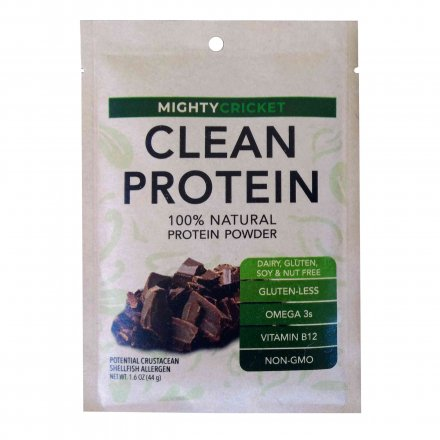 cricket protein powder chocolate single serve pouch dairy free non whey gluten free soy free egg free peanut free no added sugar all natural clean protein