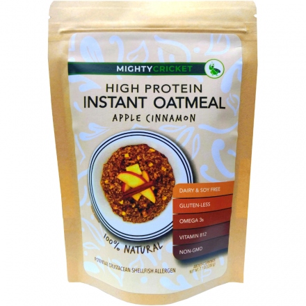 Apple Cinnamon Protein Oatmeal instant cricket oatmeal dairy free soy free organic oats
