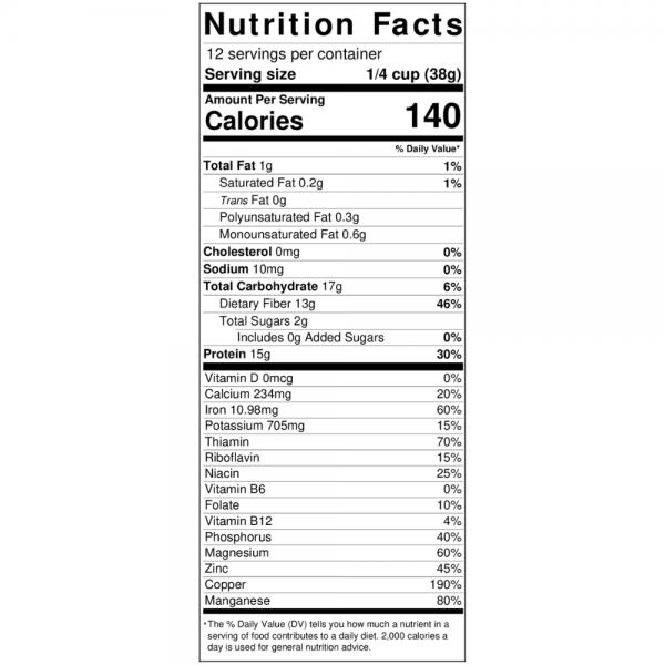 sunflower flour nutrition label