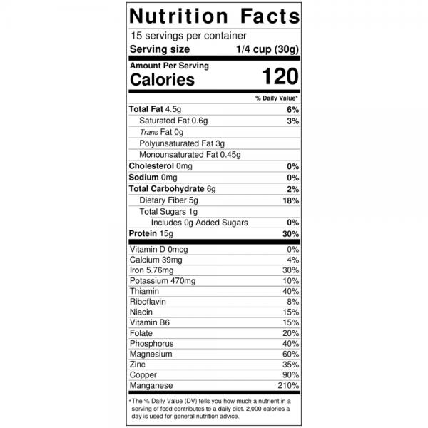 unflavored hemp protein powder nutrition label